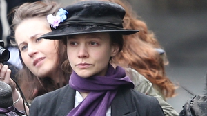 Carey Mulligan filming Suffragette at The Houses of Parliament in London