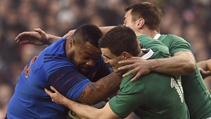 Mathieu Bastareaud is tackled by Jonathan Sexton during Ireland's RBS 6 Nations clash with France