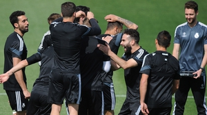 Real Madrid joke around in training ahead of the the second leg against Atletico