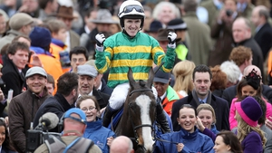 Tony McCoy celebrates his Gold Cup win on Synchronised in 2012