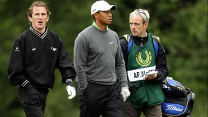 Tony McCoy, Tiger Woods and caddie Ruby Walsh at the JP McManus Invitational Pro-Am in 2010