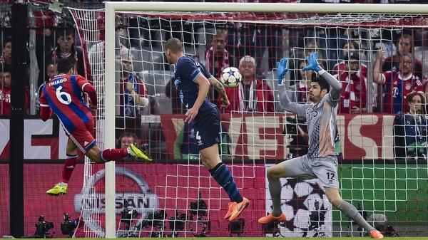 Thiago Alcantara opens the scoring at the Allianz Arena