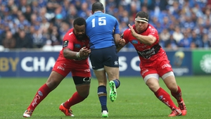 Rob Kearney runs into Mathieu Bastareaud (L) and Guilhem Guirado during the Champions Cup semi-final against Toulon