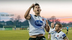 Dundalk's Richie Towell celebrates scoring against Galway United on Monday