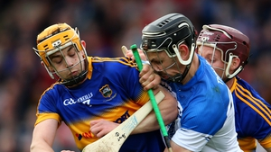 Tipperary's Ronan Maher and Paddy Stapleton tackle Maurice Shanahan of Waterford during the Alliianz Hurling League semi-final on Sunday