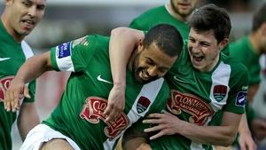 Cork City's John Kavanagh congratulates goalscorer Kieran Djilali during their game against Drogheda on Friday