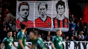 Bohs' fans display banners before the game against St Patrick's Athletic on Friday
