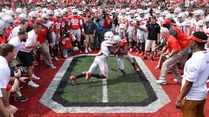 The Ohio State Buckeyes perform the Circle Drill at midfield before the start of their annual Ohio State Spring Game at Ohio Stadium on Saturday