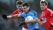 Dublin attacker Kevin McManamon with Fintan Goold and James Loughrey of Cork in their Division 1 clash back in February