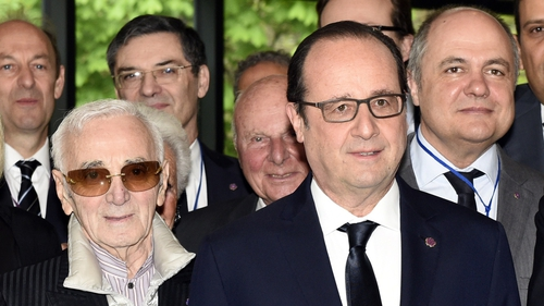 French-Armenian singer Charles Aznavour was a guest at the ceremony along with President Francois Hollande