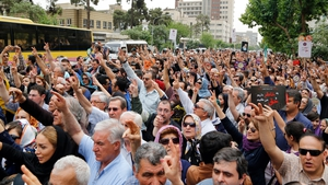 Hundreds of Iranian Armenians take part during a protest demonstration in front of the Turkish embassy in Tehran