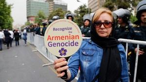 An Iranian-Armenian woman at a demonstration in Tehran