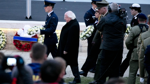 President Higgins laid a wreath during today's ceremony