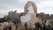 Nepalese rescue teams gather at the collapsed Dharahara Tower in Kathmandu