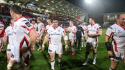 Rory Best (right) and the other Ulster players celebrate winning the game