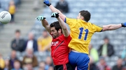 Down and Roscommon were tied at seven points apiece at the break
