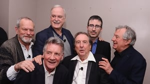 John Cleese, second left, at back, with the Monty Python gang in recent times.
