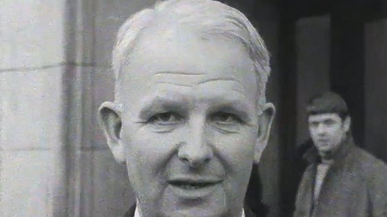 Brian Faulkner pictured outside Stormont following his resignation as  Northern Ireland Minister for Commerce on 24 January 1969.