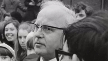 Minister for Health William Morgan speaking about his resignation outside Stormont buildings on 26 January 1969.