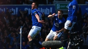 James McCarthy celebrates his strike, which gave Everton an early lead against Manchester United