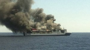 The burnt-out ferry could sink in the position where the rescue was carried out