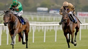 Felix Younger (right) ridden by Danny Mullins leads home Baily Green in the  BoyleSports Champion Steeplechase
