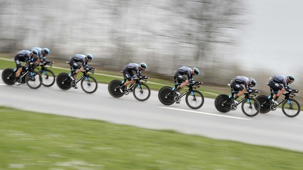 Team Sky en route to winning today's team time-trial