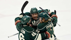 Zach Parise of the Minnesota Wild celebrates scoring a short-handed goal against the St Louis Blues during the first period in game six of the Western Conference quarter-finals during the 2015 NHL Stanley Cup