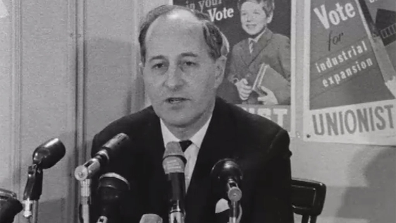 Captain Terence O'Neill pictured at a press conference on 21 February 1969.