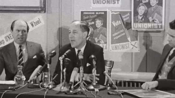 Terence O'Neill pictured at a press conference on 21 February 1969