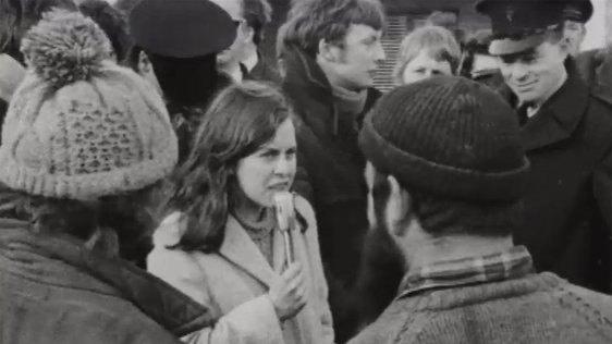 Bernadette Devlin is pictured addressing supporters during the election campaign on 22 February 1969.