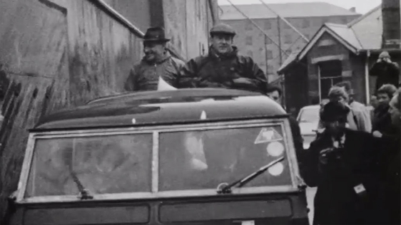 Captain Terence O'Neill is greeted with jeers while canvassing in Derry on 22 February, 1969.
