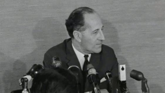 Captain Terence O'Neill speaking at a press conference on 25 February, 1969.