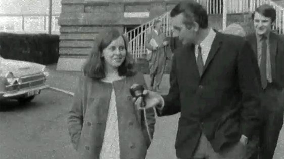 Bernadette Devlin pictured after voting for the first time on 17 April, 1969.