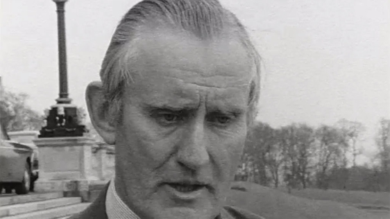 Chichester-Clark speaking to RTÉ News on the day of his resignation on 23 April, 1969.