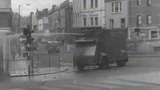 Water cannon being used by the police during riots in Derry on 14 July, 1969.