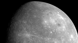 Mercury shown from a distance of approximately 27,000km, taken by Messenger on 14 January 2008