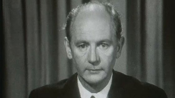 An Taoiseach Jack Lynch addresses the nation regarding the Northern Ireland situation, on RTÉ Television on 13 August 1969.