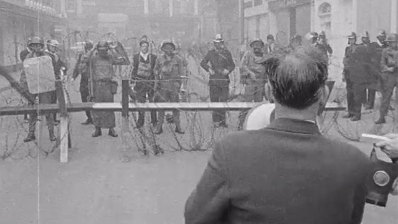 A representative of the Bogside addresses the British soldiers in Derry on 14 August, 1969.
