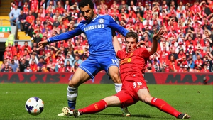 Jon Flanagan (R) in action against Mo Salah, then of Chelsea