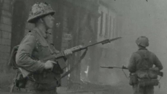 British soldiers patrol the streets of Belfast on 16 August, 1969.