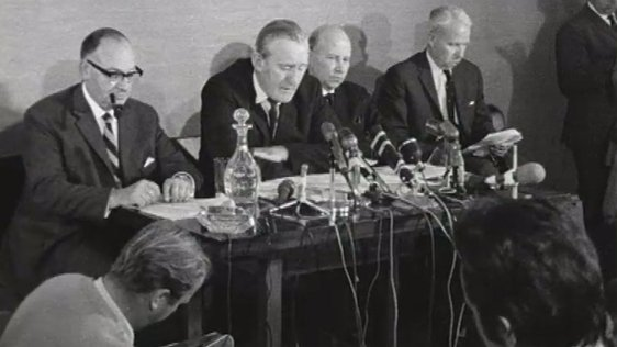 Northern Ireland Prime Minister, Chichester-Clark, pictured at a press conference on 17 August, 1969.
