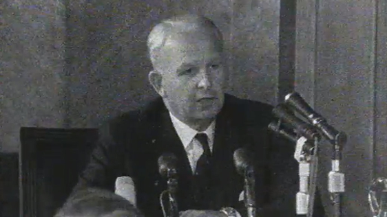 Brian Faulkner speaking at a press conference on 22 August, 1969.