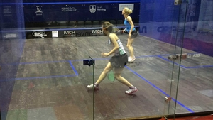 Ciara Moloney in action against Emma Beddoes