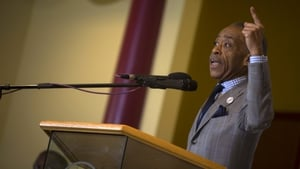 Reverend Al Sharpton speaks at New Shiloh Baptist Church in Baltimore, calling for an end to violence