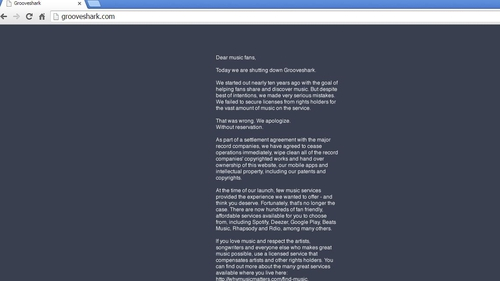 The message announcing its closure posted on Grooveshark's website