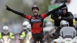 Stefan Kueng (BMC) celebrates after winning the third stage of the Tour de Romandie