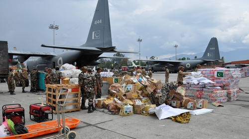 Soldiers unload relief goods for the victims of earthquake in Nepal earlier this week