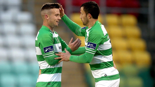 Experienced campaigned Keith Fahey celebrates with young striker Mikey Drennan, who sealed the victory for Rovers