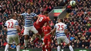 Steven Gerrard (C) scores the winner for Liverpool